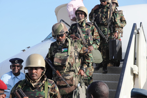 The first African Union contingent from Djibouti arrive at Mogadishu's Adan Ade international airport